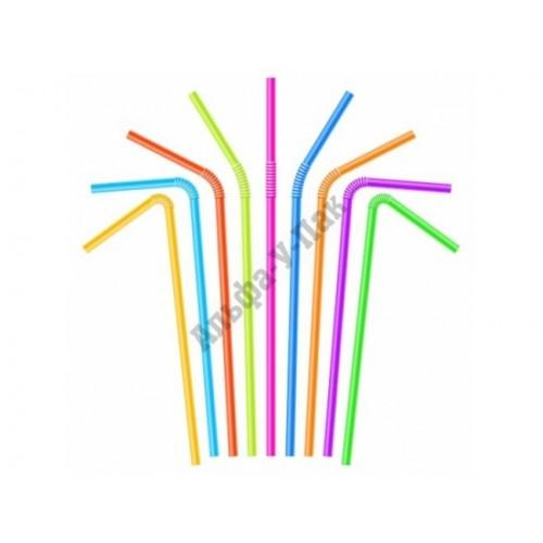 Трубочки для коктейля с изгибом в ассортименте длина 21см 250 штук в упаковке