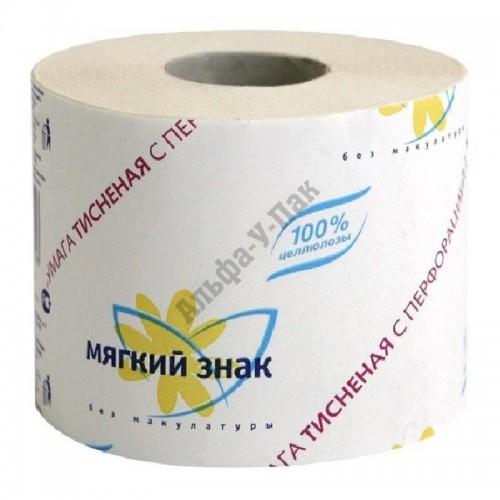 Туалетная бумага Мягкий знак 1-слойная белая (72 рулона в упаковке)
