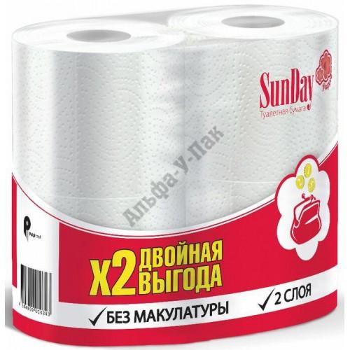 Туалетная бумага Sunday 2-слойная белая (4 рулона в упаковке)