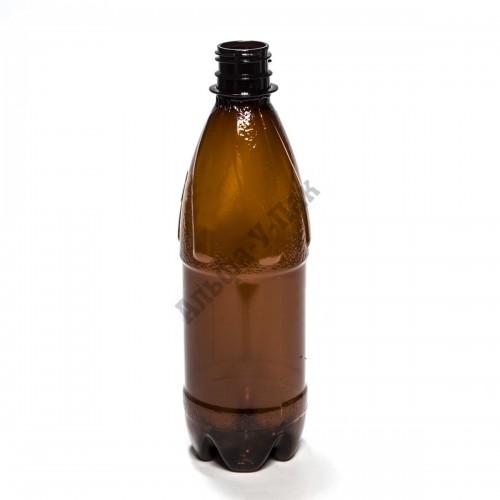 Бутылка пластиковая коричневая 500мл (диаметр горла 28мм) 100 штук в упаковке
