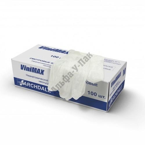 Перчатки смотровые виниловые ViniMAX неопудренные размер M (100шт в упаковке)
