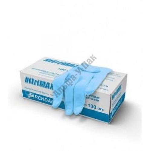 Перчатки смотровые нитриловые NitriMAX неопудренные размер M (100шт в упаковке)