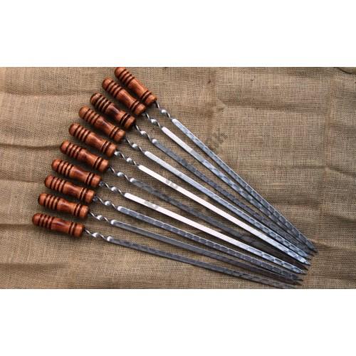 Шампур для шашлыка 11х580мм НЕРЖАВЕЙКА с деревянной ручкой
